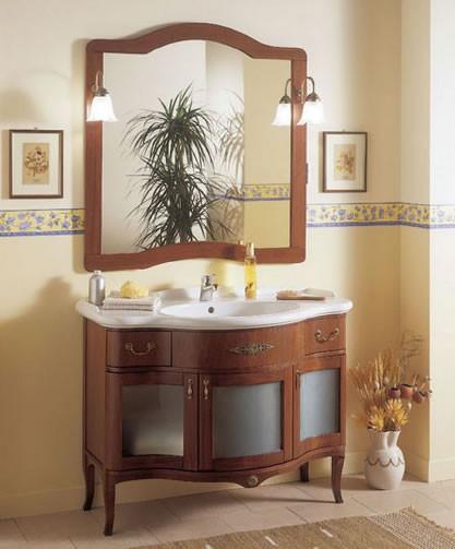 Classic wooden Badezimmerschrank mit Glastüren h11302