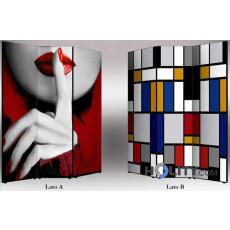Dreiteiliger Paravent mit Mondrian Design h11807