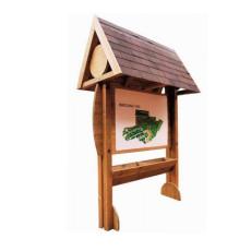 Werbe-/Infotafel aus Holz mit Blumenkübel h109194