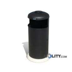 Metall-Abfallbehälter mit Betonsockel und Ascher h140144