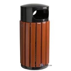 Abfalleimer aus Holz und Stahl h8629