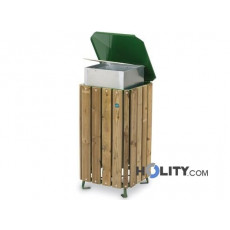 Mülleimer mit Holz für Aussenbereich h35005