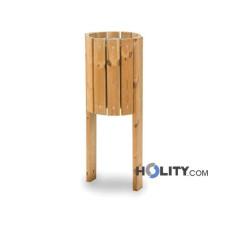 Mülleimer mit Holz für Aussenbereich h35006