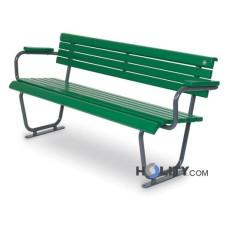 Sitzbank mit Holzplanken für öffentliche Plätze als Stadtmobiliar h35011