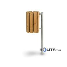Mülleimer mit Holzlatten für Aussenbereich h35019