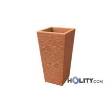 Vaso rettangolare rustico in polietilene con opzione luce h12704