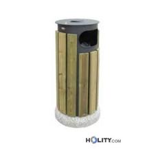 Abfallbehälter aus Stahl mit Holzverkleidung h109237
