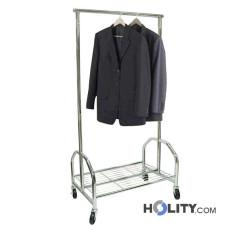 Verchromter Kleiderständer mit Gitterablage h12207