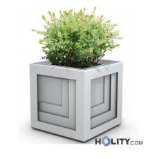 Blumenkübel aus verzinktem Stahl als Stadtmobiliar h140289