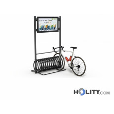 Spiral-Fahrradständer mit Werbetafel h14058