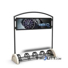Fahrradständer mit Betonsockel und Werbeschild h14064