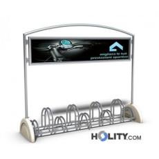 Fahrradständer mit Betonsockel und Werbetafel h14086