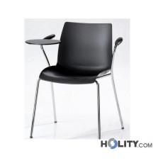 Stapelbarer Konferenzstuhl mit Armlehnen und Schreibplatte h17723