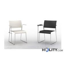Stapelbarer und feuerfester Konferenzstuhl mit Armlehnen und Schreibplatte h17727