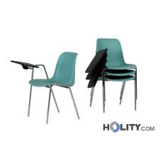 Stapelbarer Konferenzstuhl mit Armlehne und Schreibplatte h17730