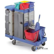 Reinigungswagen mit herausziehbarer Arbeitsplatte h17902