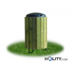 Abfalleimer mit Holz, 120 Liter Volumen h28742