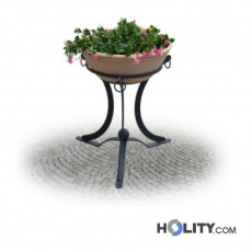 Runder Blumentopf aus Terrakotta und Metall h28750