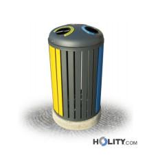 Abfallbehältersystem zur Mülltrennung als Stadtmobiliar h28756