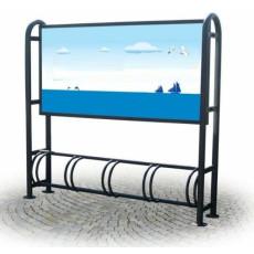 Fahrradständer mit Werbetafel. h28764