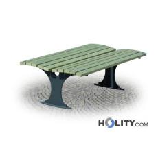 Doppelreihige Sitzbank aus Holz für Grünanlagen h28766