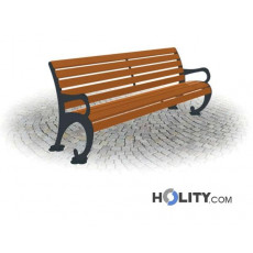 Sitzbank mit Armlehnen als Stadtmobiliar h287_146