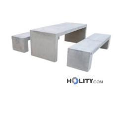 Set Picknick Tisch mit Bänken aus Beton h319_45