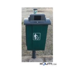 Abfallbehälter aus Kunststoff mit Aschenbecher  h32638