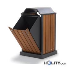 Mülleimer mit Holzlatten für Aussenbereich h35034