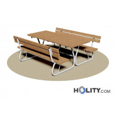 Set Picknick Tisch mit Bänken und Rückenlehne h350_202