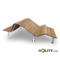 Holzbank mit 2 Sitzflächen als Stadtmobiliar h350_204