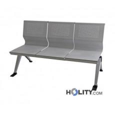Sitzbank aus Stahl für Wartesaal mit 3 Plätzen h44932