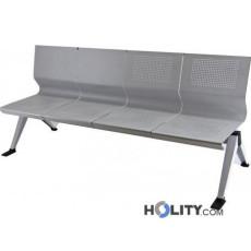 Sitzbank aus Stahl für Wartesaal mit 4 Plätzen h44933