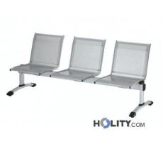3-er Sitzbank aus grauem Stahl für Wartezimmer h44935