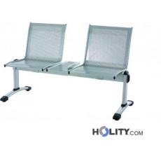 2-er Sitzbank aus grauem Stahl für Wartezimmer h44936
