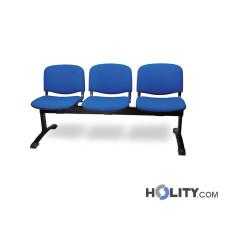 3er-Sitzbank für Wartesaal mit Stoffbezug h487_07