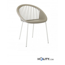 Design Plastik Stuhl Giulia Scab h74339 - Stuhlbeine leinenweiss + Schale taubengrau