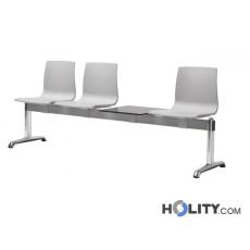 Sitzbank mit 3 Plätzen und Tisch für Wartesaal h74_348