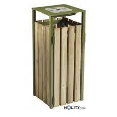 Abfalleimer aus Holz und Stahl h8647