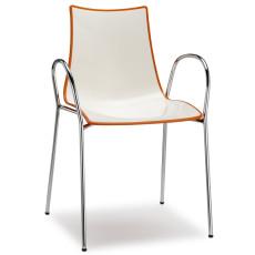 SCAB Designer Stuhl ZEBRA mit Armlehnen h74113 weiß + orange