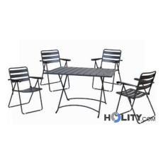 Garten-Sitzgarnitur 5teilig anthrazit Stahl h24014