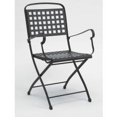Garten-Klappstuhl aus Stahl mit Armlehnen h7486
