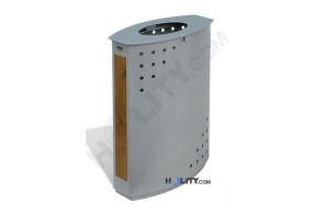 Abfallbehälter aus Holz und Eisen h140136