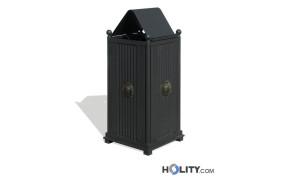 Abfallbehälter mit Wellenoptik und Schutzdach h140142
