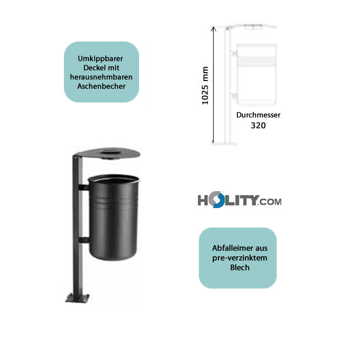 abfalleimer mit ascher und klappdach h10944. Black Bedroom Furniture Sets. Home Design Ideas